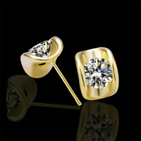 2 pair  brand earrings for women 2013 different color material gold 18K GP yellow gold lada  earring studs Zircon jewelry GPE29