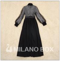 Brand new Spring /Autumn Women's Fashion Runway Dress Elegant Long maxi Dress Lace Guaze Patchwork  Long sleeved XXL Black/blue