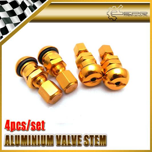 4Pcs/Set Gold Aluminium Vocuum Tire Valve Stem With Cap UNIVERSAL JDM