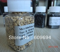 1 jar-1000pieces (5mm*3mm*3mm) Micro Silicone Rings/Links/Beads For I tip Hair Extensions tool kit 7 Colors Optional