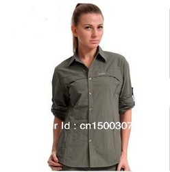 Ladies Speeddry slim fit shirts /Fastdry Outdoors Sports wear / ADR fabric/detachable sleeves shirts(China (Mainland))