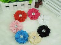 Free shipping The new chiffon flower with Rhinestone Baby flower head DIY hair accessories 40pcs/