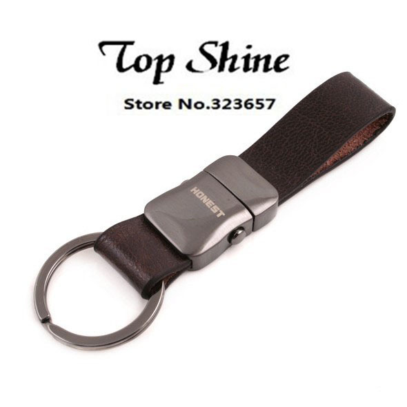 New Fashion Quality Real Leather Men Keychain Brand Car Key chain( with gift box ) Metal Alloy Buckle For Men Gift Hot Sale(China (Mainland))