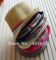 Wholesale women and men good quality promotional trilby caps summer popular straw knitted flat fedora hats