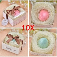 10 Boxes  The Nest Blue Pink Egg Scented Soap Boxed For Baby Shower Bridal Wedding Favours Bomboniere  Baptism Religious Favor