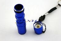 Free shipping New 3W 1AA dry battery Aluminium LED flashligth mini police led torch light with key ring 10pcs/lot