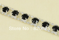 1yds Jet Black Clear Rhinestone Silver Applique Chain Lady Dress Costume Trim