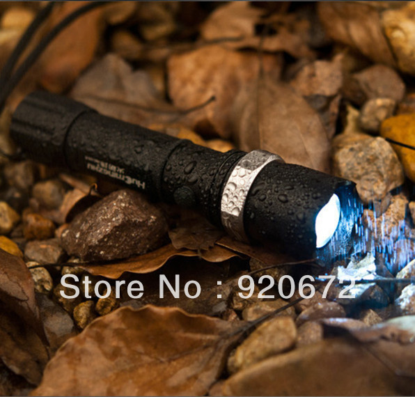 Free Shipping GERR Q5 LED Rechargeable Glare Long Shot Flashlight with Lifesaving hammer --style No.C201E--without accessories(China (Mainland))