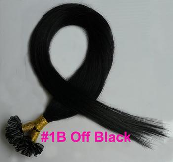"50S #1B Off Black Pre Bonded Nail U Tip Keratin Glue 100% Remy Human Hair Extensions 16""-24"" Soft Long"