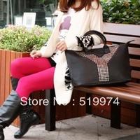 Fashion star 2013 y women's rivet handbag large capacity handbag shoulder bag  free shipping
