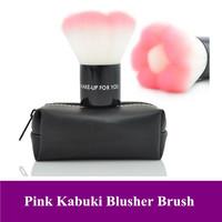 Dropshipping! Free shipping! Beautiful Pink Kabuki blush blusher brush face powder brush foundation brush with black bag
