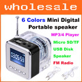 6 Colors Mini Digital Portable speaker, Music MP3/4 Player Micro SD/TF USB Disk Speaker With FM Radio Free shipping #0587