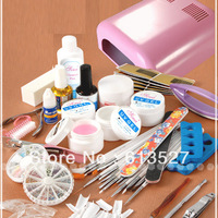 Nail Art Manicure Decoration 36W UV Pink dryer lamp 30 color Acrylic Powder Nail Art Kit gel tools Set Free Shipping