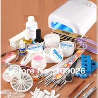 2014 New Nails Full Set UV Gel Brush Pen UV Lamp Nail Art DIY Manicure kit Free Shipping