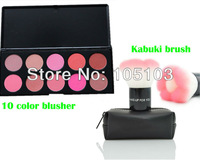 30% off! Save $5! Free shipping! Dropshipping! 10 color blusher blush palette+Pink Kabuki blush powder brush with bag