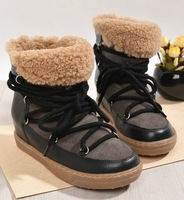 isabel marant natural leather fur snow winter boots for women tie up platform heel ankle bootie wedge sneakers