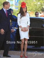 Kate Middleton White Celebrity Dress with Handmade Ruffle JY808