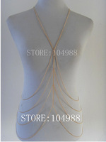 2013 FREE SHIPPING New arrival!Unique Design Long Neck Fashion Europe Metal Gold Chain Link Necklace Chunky Tassel Body Jewelry