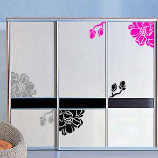 Flowers wardrobe cabinet stickers kitchen sticker glass - Sticker meuble cuisine ...