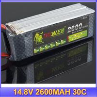 Lipo Battery 4S LION 14.8V 2600MAH 30C rc plane/heicpoter lipo battery pack +free shipping