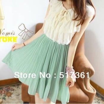 chiffon white drsses tank skirts women summer cheap dresses green pink pleatd dresses knee length elegant cute free shipping