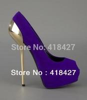 Drop Ship 2013 Luxury Summer Women's Platform Pumps Nubuck Leather Brand GZ Peep Toe High Heels Gold Wedding Shoes 14cm
