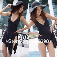 Classic Sexy Deep V 2 Way One Piece Black Swim Dress Swimsuit Bathing Suit SW99