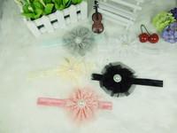 Wholesale - - Baby Girl Vintage Lace Flower with Sunflower pearl Headbands Toddler Headbands Newborn Headbands 30pcs/lot