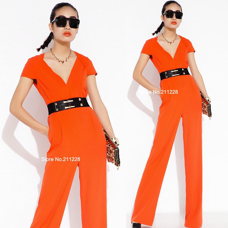 Model Neon Orange Jumpsuit Palazzo Wrap Pants For Women Orange Jumpsuits