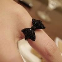 Vintage Black Imitation Diamond Adjustable Ring,bow Ring,Min.order is $10 (mix order),free shipping