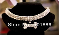 new samples,3 row rhinestone with elastic dog necklace pet jewelry,dog collar