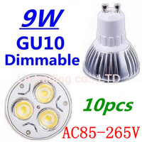 10pcs/lot Dimmable GU10 3X3W 9W Led Lamp Spotlight 85V-265V Led Light downlight High Power Free shipping