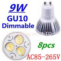 8pcs/lot Dimmable GU10 3X3W 9W Led Lamp Spotlight 85V-265V Led Light downlight High Power Free shipping