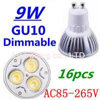 16pcs/lot Dimmable GU10 3X3W 9W Led Lamp Spotlight 85V-265V Led Light downlight High Power Free shipping