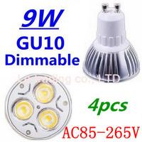 4pcs/lot Dimmable GU10 3X3W 9W Led Lamp Spotlight 85V-265V Led Light downlight High Power Free shipping