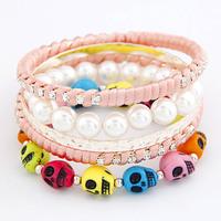 Free shipping 2014 new jewelry accessories fashion ribbon rhinestone gem multicolour skull multi-layer pearl bangle wide women