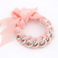 Free shipping 2014 new jewelry european style wholesale fashion lovely big bow chain fabric bowknot ribbon wrap bracelet women