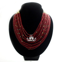 Multiple Strands of Acrylic Coral Beads Inter Chain Chuky Choker Necklace Free Shipping Mother's Day Gift JP041407