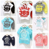 2013New Children Suits Girl Boy Sports Suits Kids Clothing Set Baby Hooded T-shirt+pant Summer NEBRAKA WESLEYAN CREAM 369 SUGARY