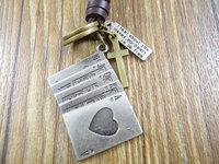 Retail Wholesale handmade cowboy style Genuine leather cross vintage poker letters pendant men women necklace 0026