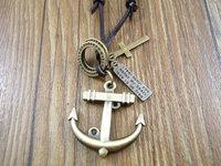 2013 new arrival handmade cowboy style Genuine leather cross vintage anchor pendant men women necklace 0017