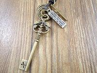 Retail handmade cowboy style Genuine leather cross vintage dragon key pendant men women necklace 0018