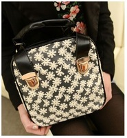 Free shipping!! Preppy style vintage double zipper  dancingly lace  backpack