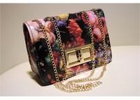 Free shipping!! 2013 vintage bag oil painting bag flower oil painting  chain bag small sachet shoulder bag designer bag