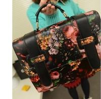 Free shipping!! Vintage oil painting bag flower vintage messenger bag briefcase bag 2013 women's fashion handbag