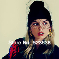 Free shipping beauty  yarn products hat for women girl Women's Beanies knitted gauze vintage cap winter hats multicolor  cap