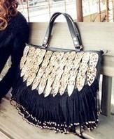 limited edition vintage leopard print decoration tassel bag handbag casual bag women's handbag   Free shipping