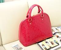 Free shipping High quality  women's handbag small chili japanned leather embossed handbag shell shoulder bag