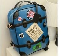 2013 women's backpack female leather handbag middle school students school bag vintage backpack computer travel bag