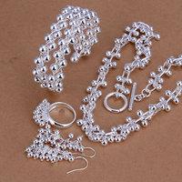 S251 Wholesale, free shipping 925 silver jewelry set, fashion jewelry set Grape Ring Earrings Bracelet Necklace Heart, women